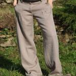Teplé bavlněno lněné dámské kalhoty