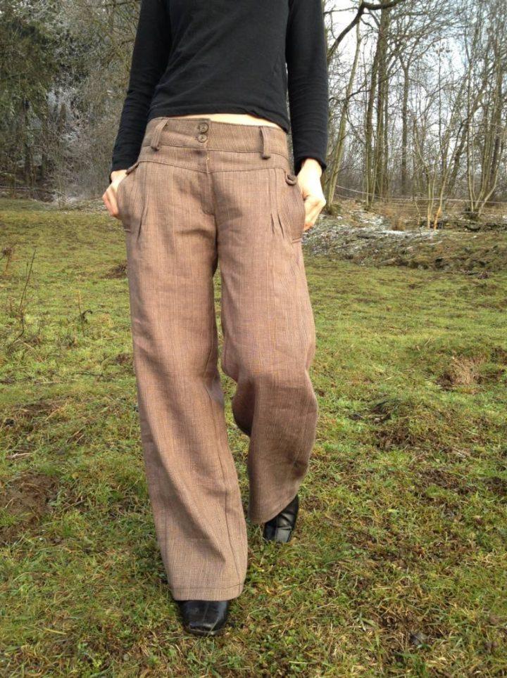 bavlněno lněné dámské kalhoty