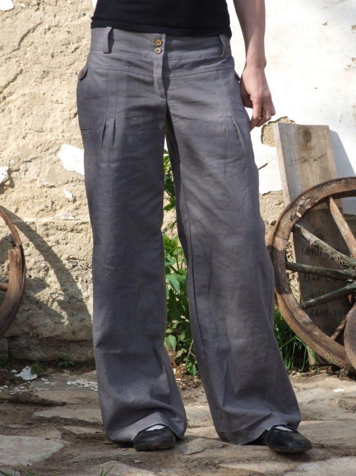 Lněné dámské kalhoty