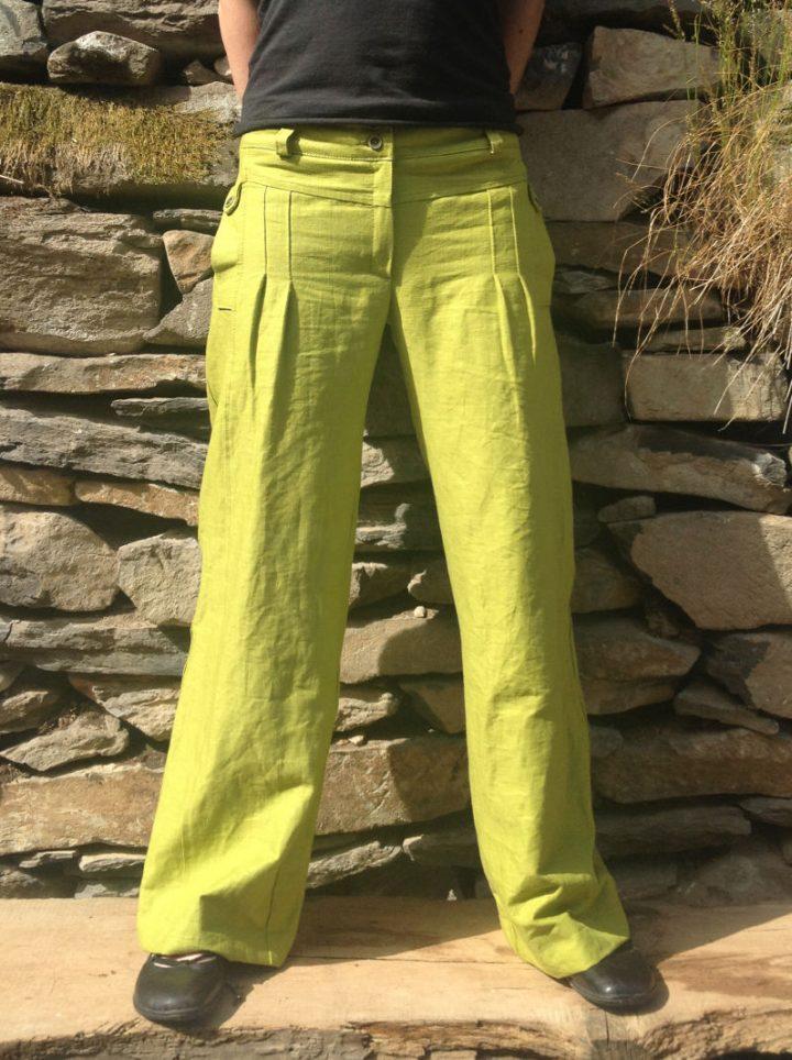 zelené bavlněno lněné dámské kalhoty