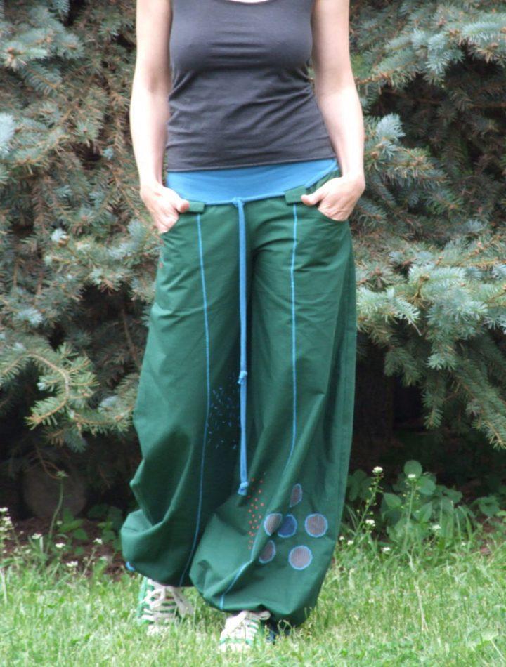 Zelené dámské kalhoty