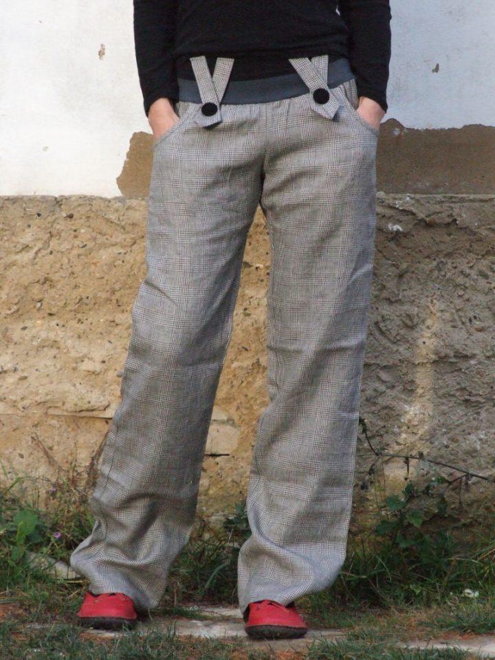 kalhoty s knoflíky kostkované