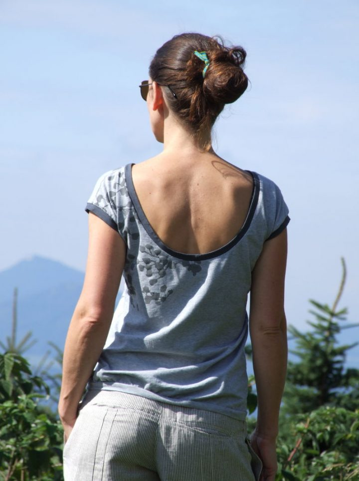 autorské tričko šedý melír