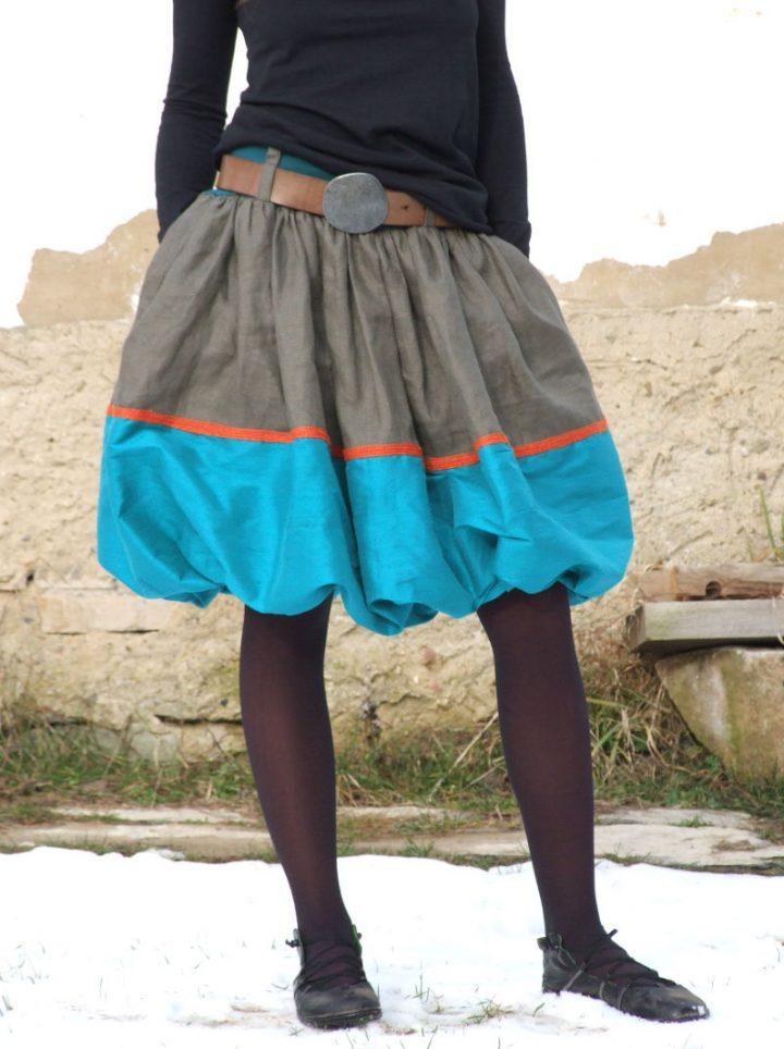 Balonová řasená hedvábná tyrkysová sukně