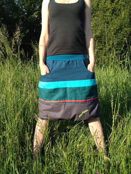 lněná krátká sukně pod kolena