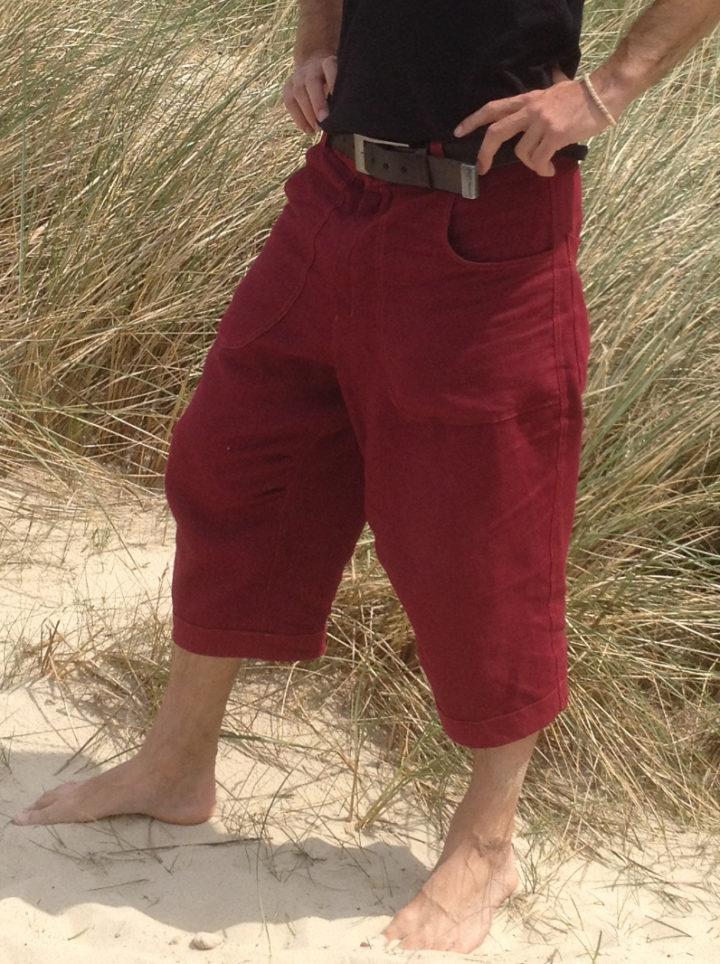 lněné pánské krátké kalhoty tříčvrťáky kraťasy