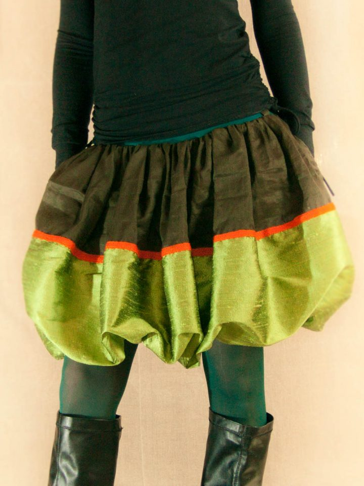 Hedvábná sukně zelená balónová