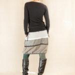 Lněná sukně pruhovaná šedá