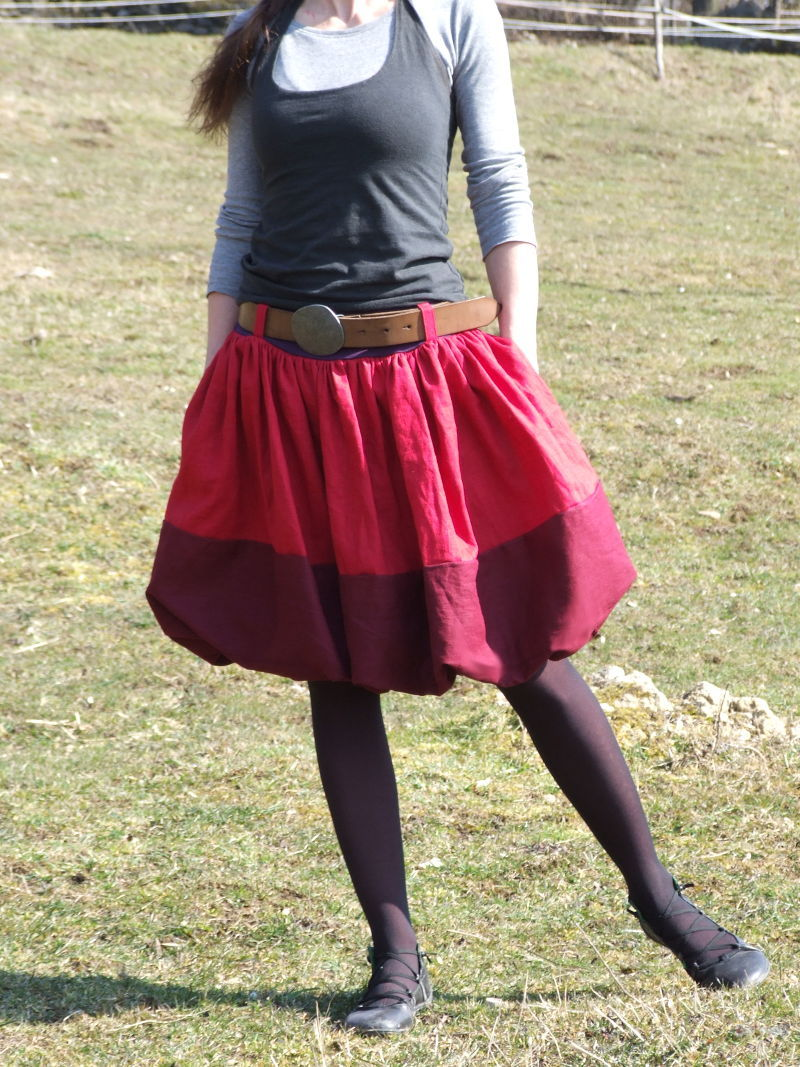 850f9b080136 Lněná balonová sukně
