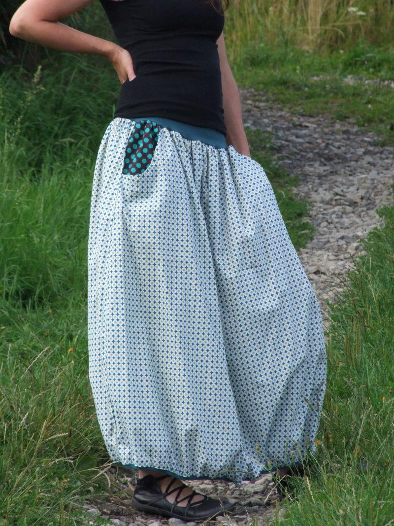 faeaefb424f Biobavlněná dlouhá sukně kolečka | Canafé – autorská móda, oděvy z ...
