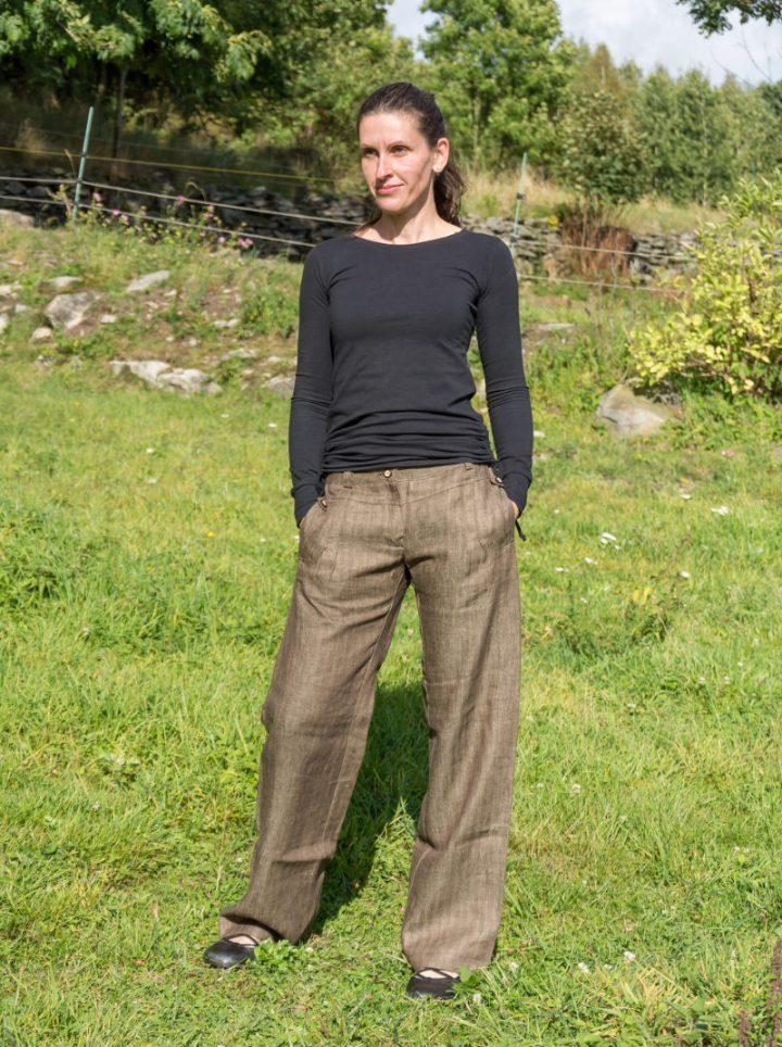 Dámské kalhoty bavlna len rybí kost